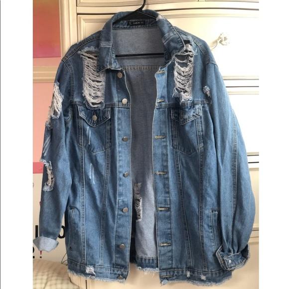 ed6fcf0018 SHEIN Jackets & Coats | Destroyed Boyfriend Denim Jacket | Poshmark